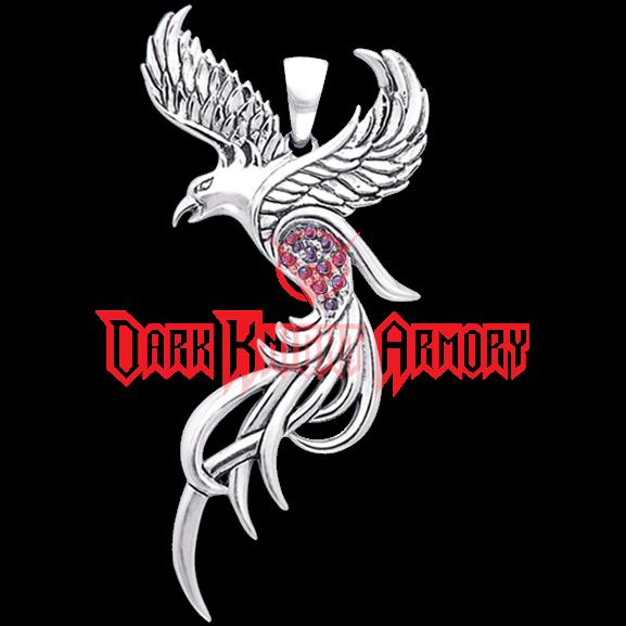 png library stock White Bronze Flying Phoenix Pendant