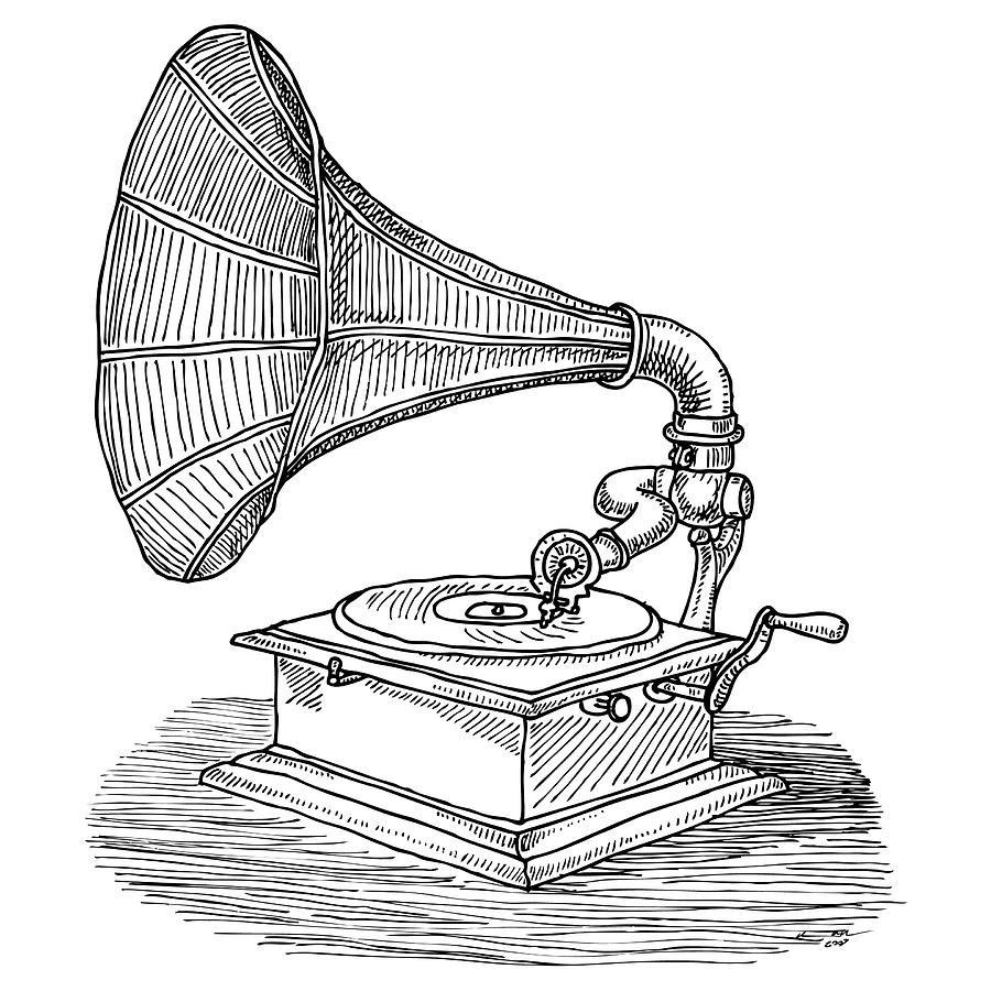 graphic free stock Phonograph drawing. .
