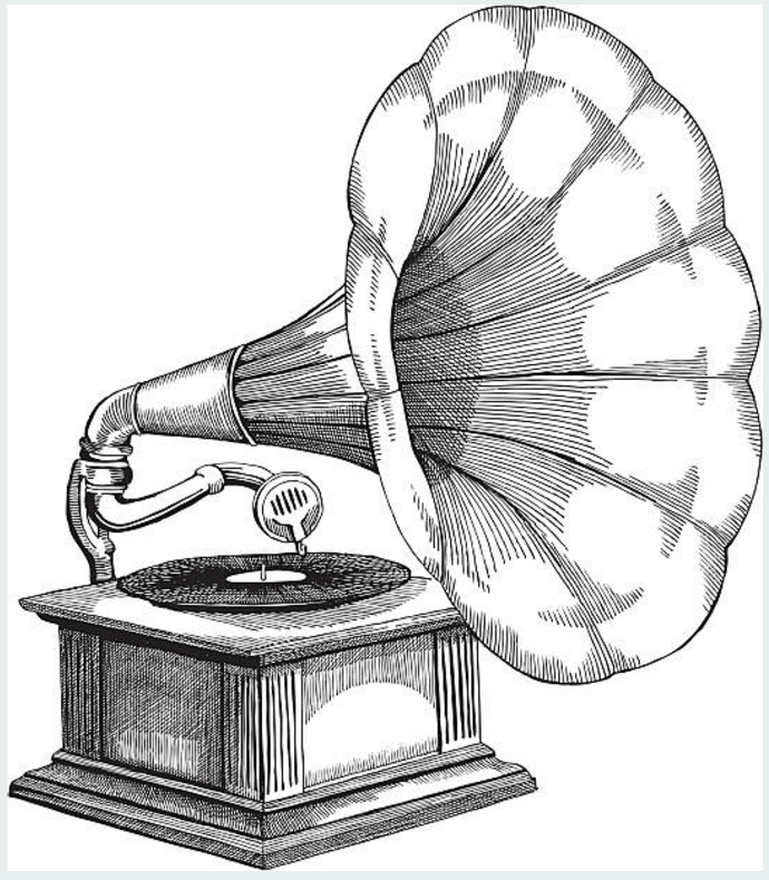 banner transparent library Phonograph drawing. Illustration of an early.