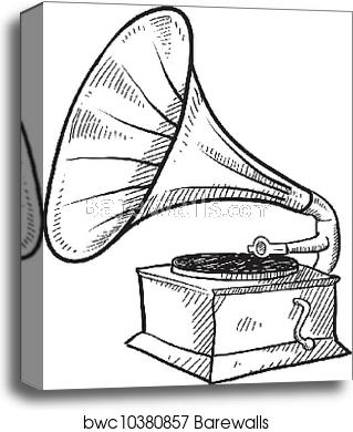 freeuse stock Antique sketch canvas print. Phonograph drawing.