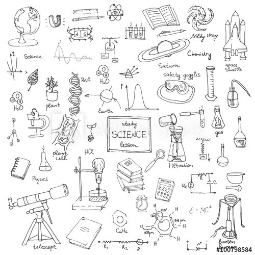 clipart black and white library Freehand school items back. Physics drawing illustration