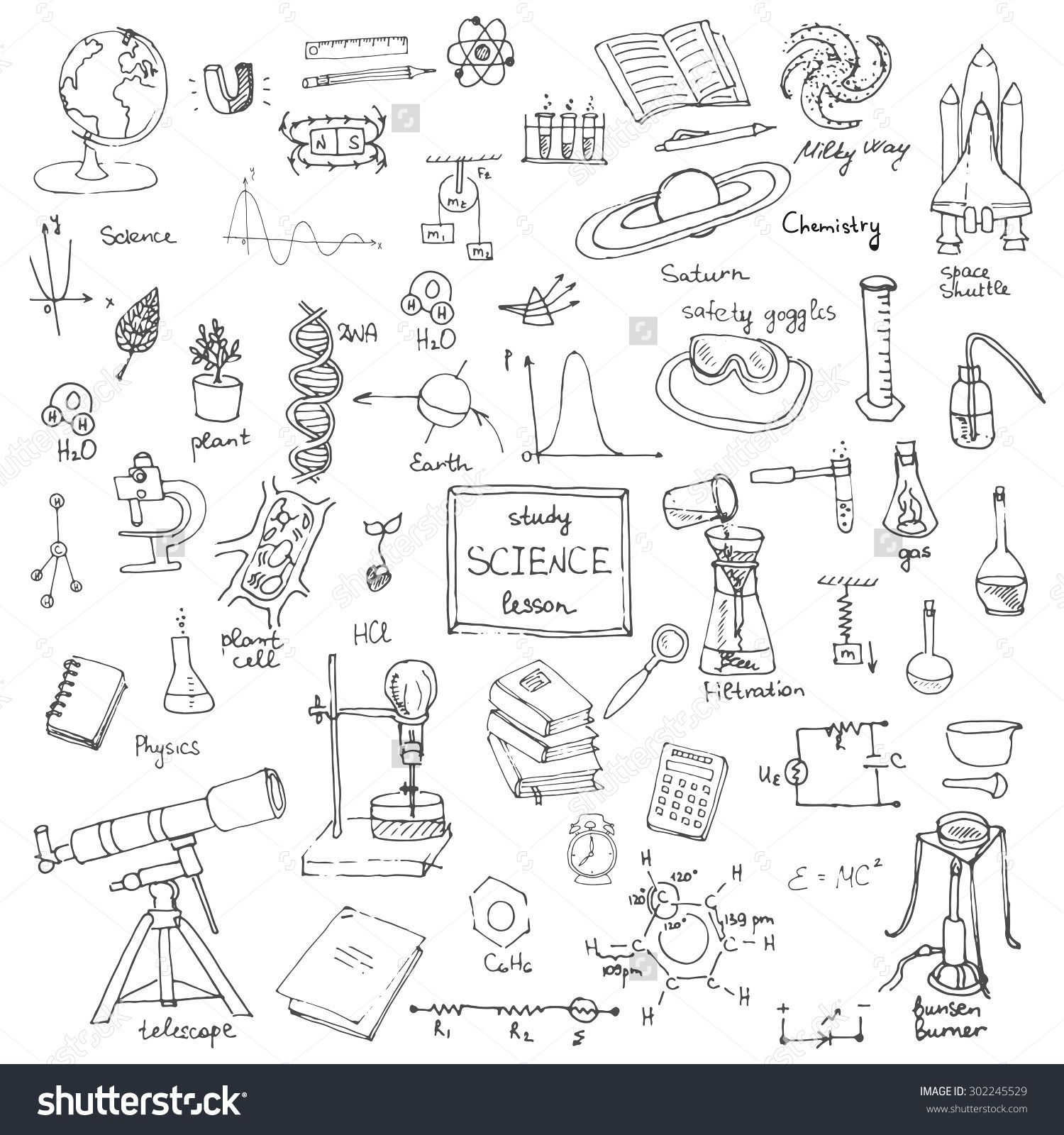 clipart freeuse stock Physics drawing themed. Freehand school items back