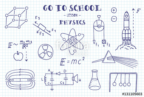 graphic freeuse Hand sketches on the. Physics drawing themed