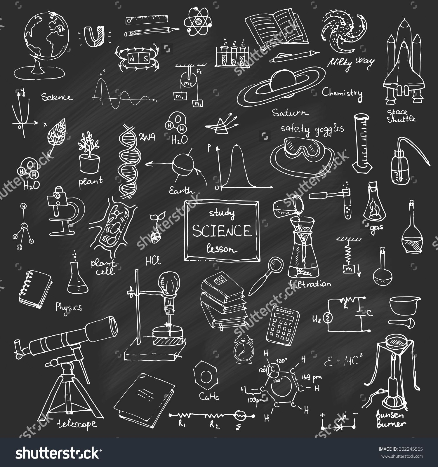 picture stock Physics drawing themed. Freehand school items back