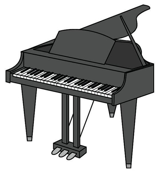 graphic black and white stock Piano clipart. Clip art vector graphic.