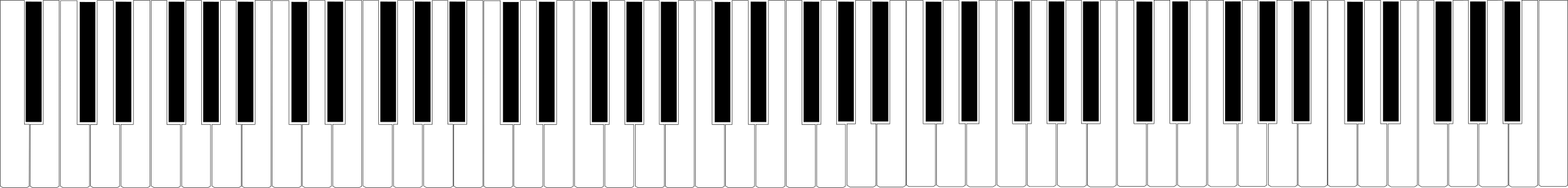 banner stock Piano keyboard clipart black and white. Standard key big image