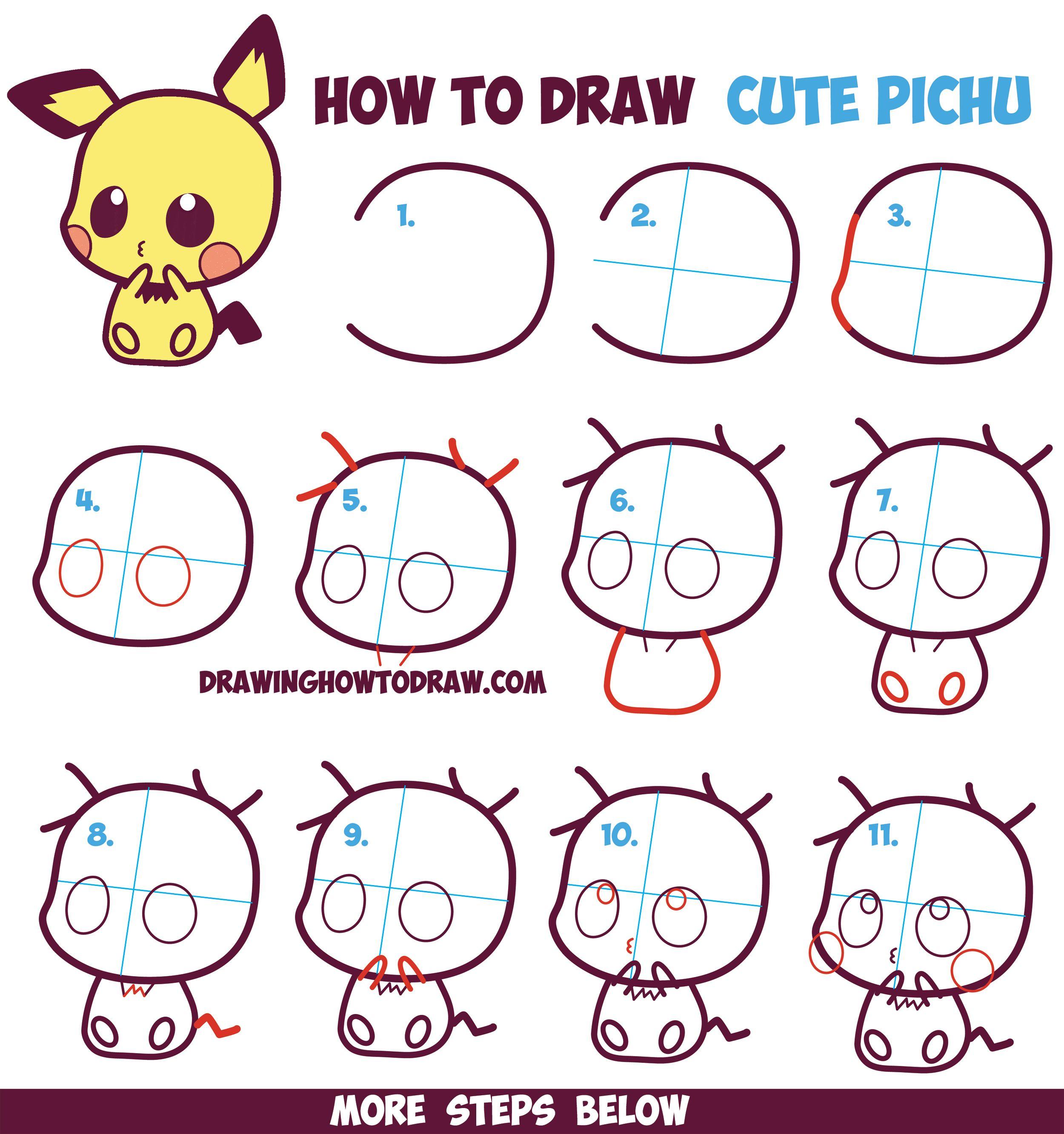 jpg transparent How to draw cute. Pichu drawing kawaii