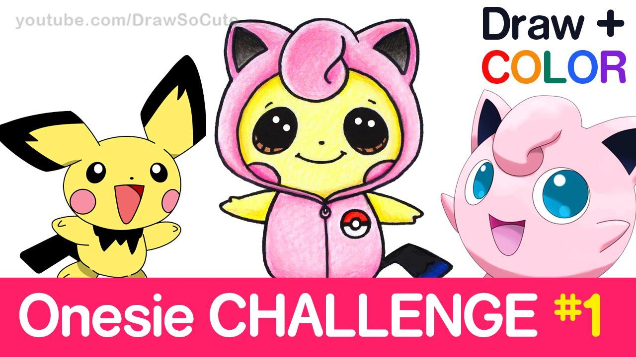 svg Pichu drawing kawaii. Draw color pokemon challenge