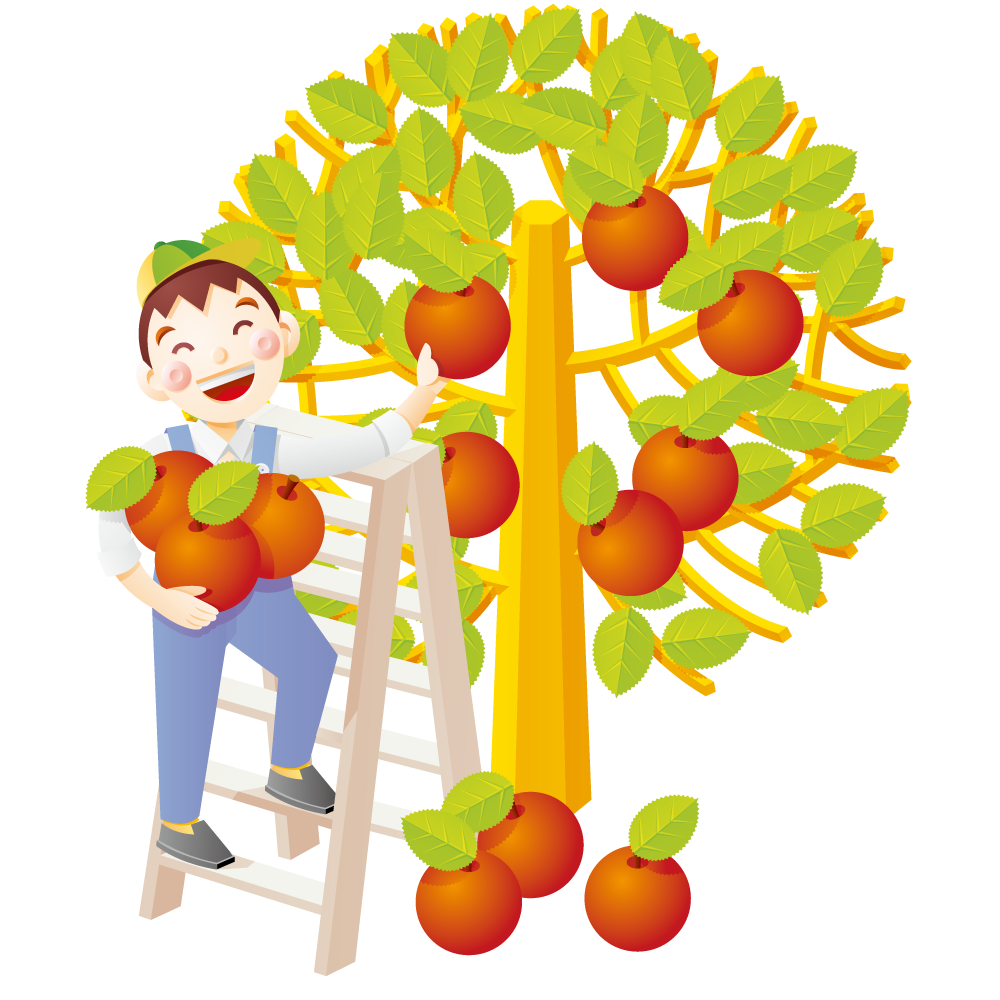 clipart library stock Picking apples clipart. Apple auglis illustration boy