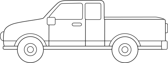 clipart black and white stock Truck outline . Pickup clipart.