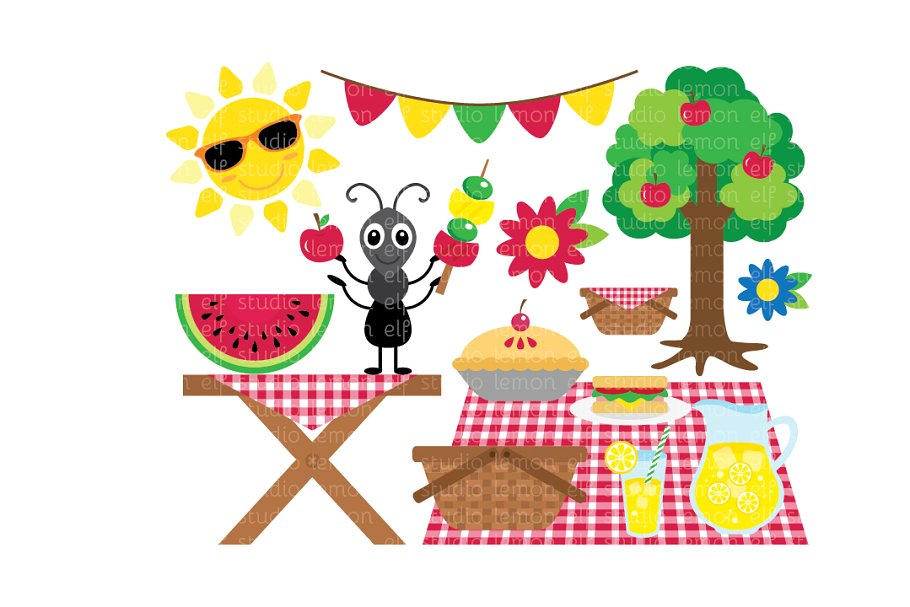 image royalty free Summer les cl illustrations. Picnic clipart.