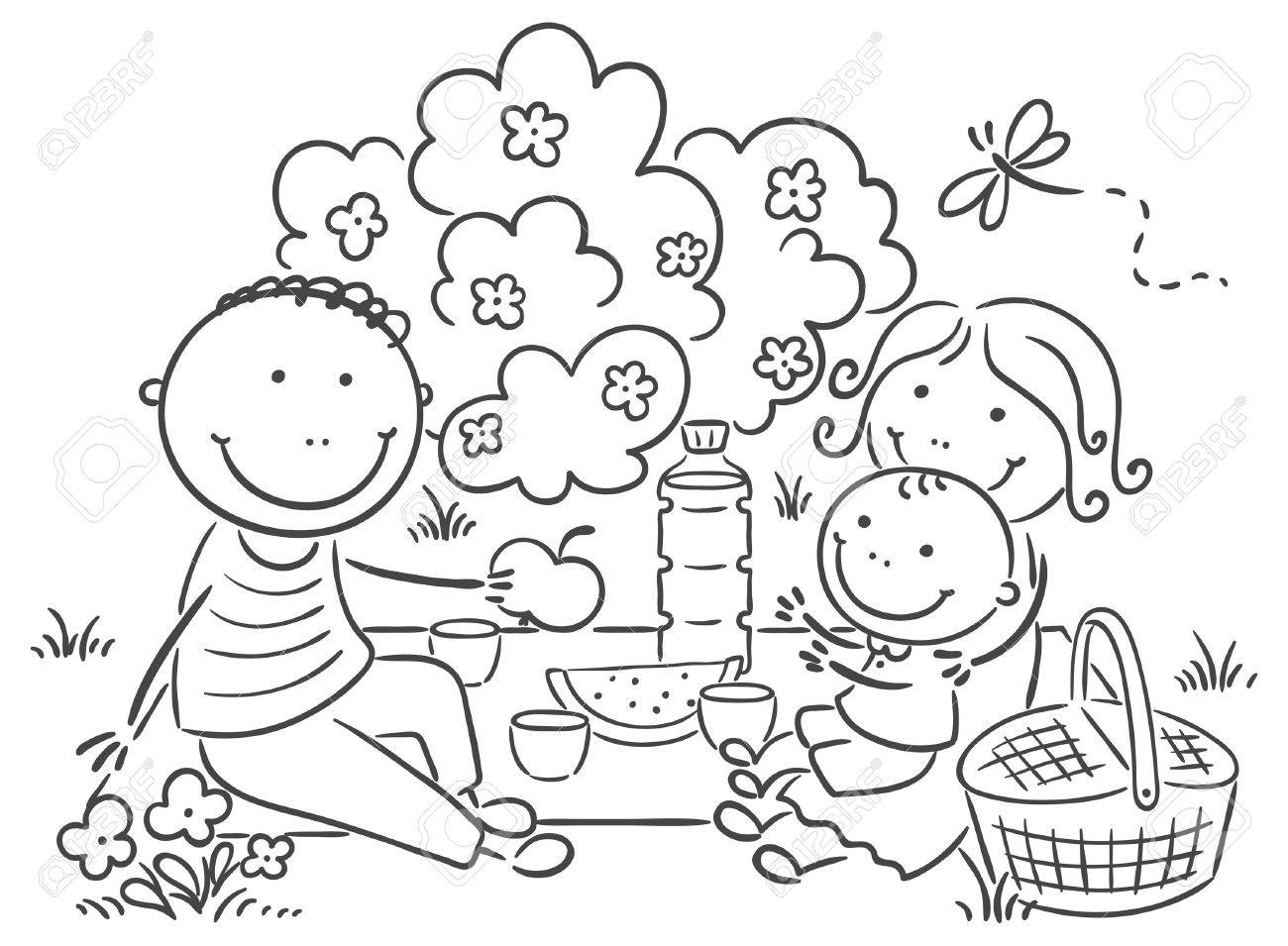 royalty free download Picnic clipart black and white. Portal