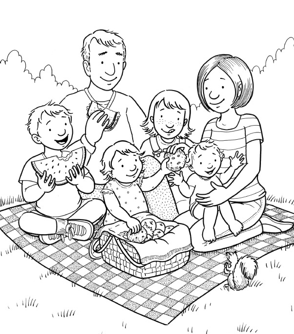 png royalty free download Free family cliparts download. Picnic clipart black and white
