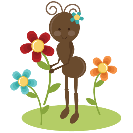 svg freeuse Spring clip art girl. Cute ants clipart