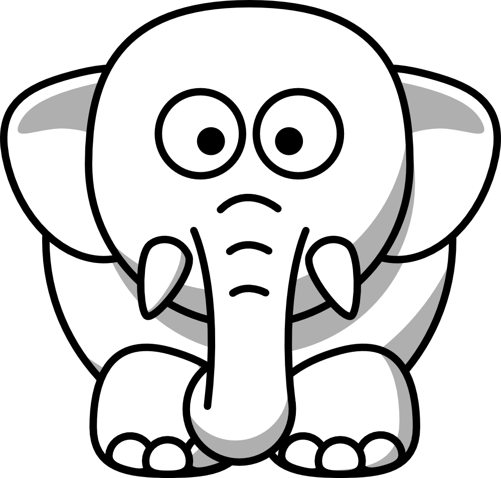 graphic royalty free download Elephant Clipart Black And White