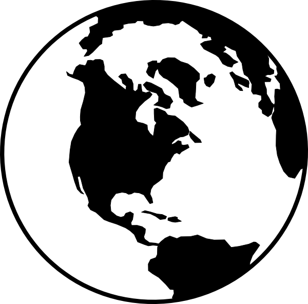 vector black and white stock Earth clipart silhouette