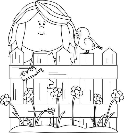 jpg free library Spring girl with a. Cool clipart black and white