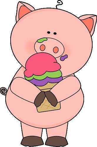 banner transparent download Pig Eating Ice Cream Clip Art