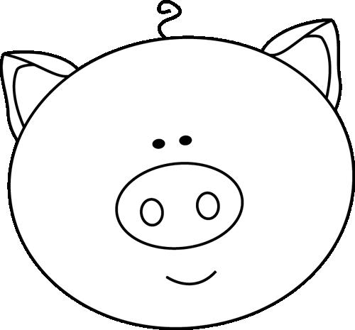 svg transparent stock Black and White Pig Face Clip Art