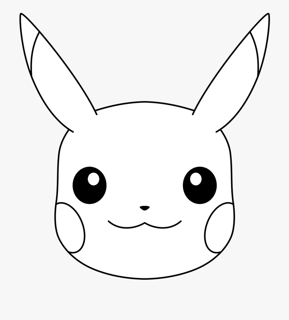 vector transparent download Face coloring page . Pikachu clipart black and white