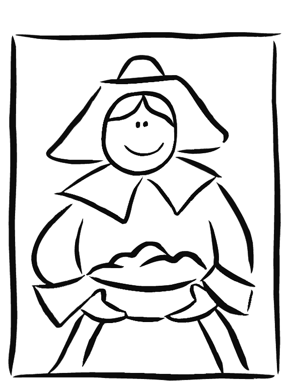 vector royalty free library Pilgrim drawing coloring page. New girl kids fun