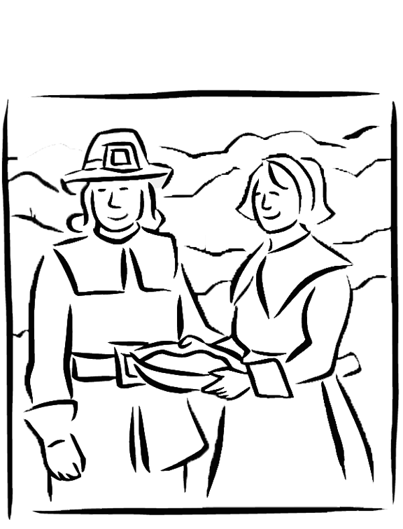 graphic royalty free library New couple kids fun. Pilgrim drawing coloring page