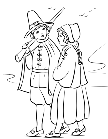 banner library stock Pilgrim drawing coloring page. Children free printable pages