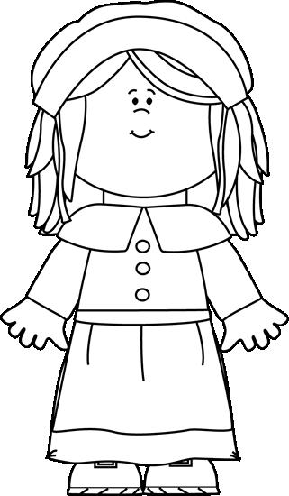 image transparent library Pilgrim girl clip art. Pilgrims clipart black and white