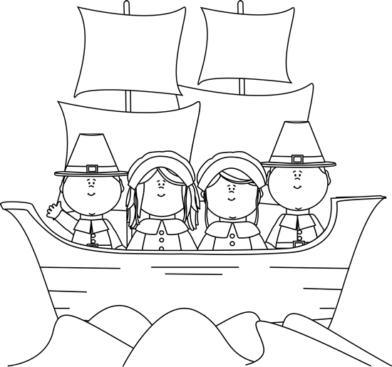 graphic stock Black and white cornucopia clipart. Pilgrims on the mayflower