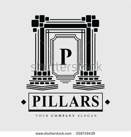 image black and white stock Luxury company logo for. Pillars vector building