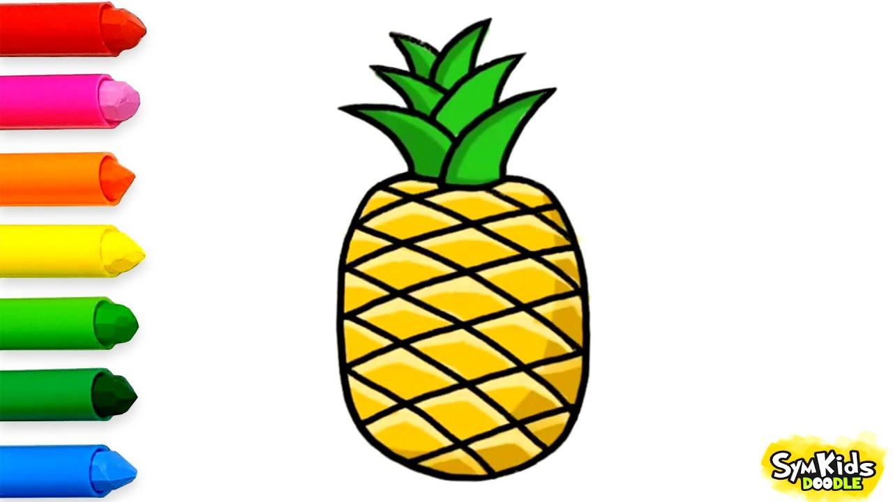 clip art free library Pineapples drawing. How to draw a
