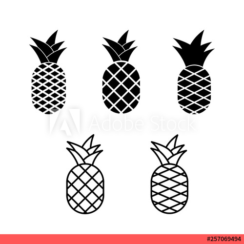 png freeuse stock Pineapple icon set fruit. Pinapple vector simple