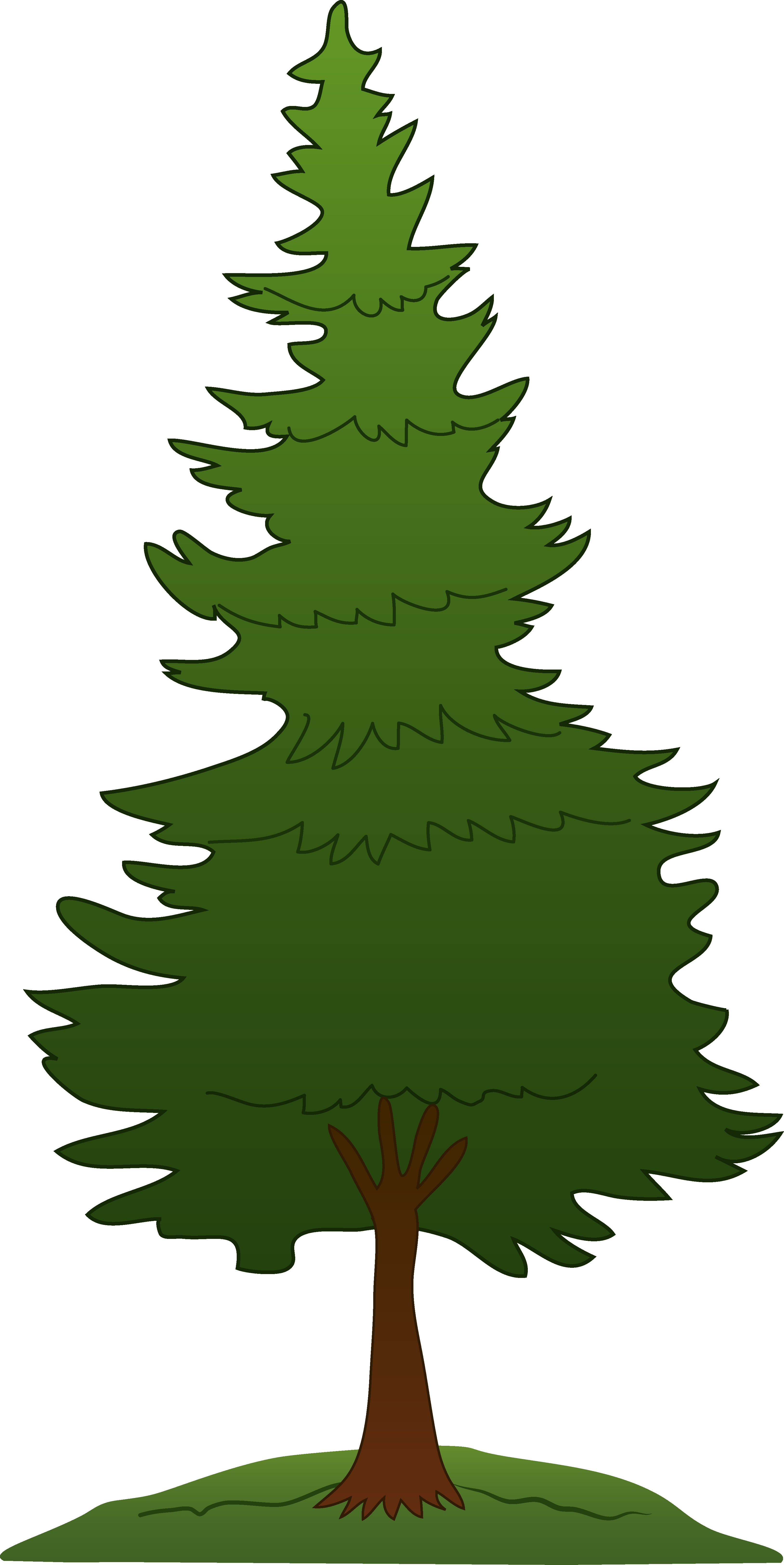 image black and white library Pine Tree Graphics Clipart