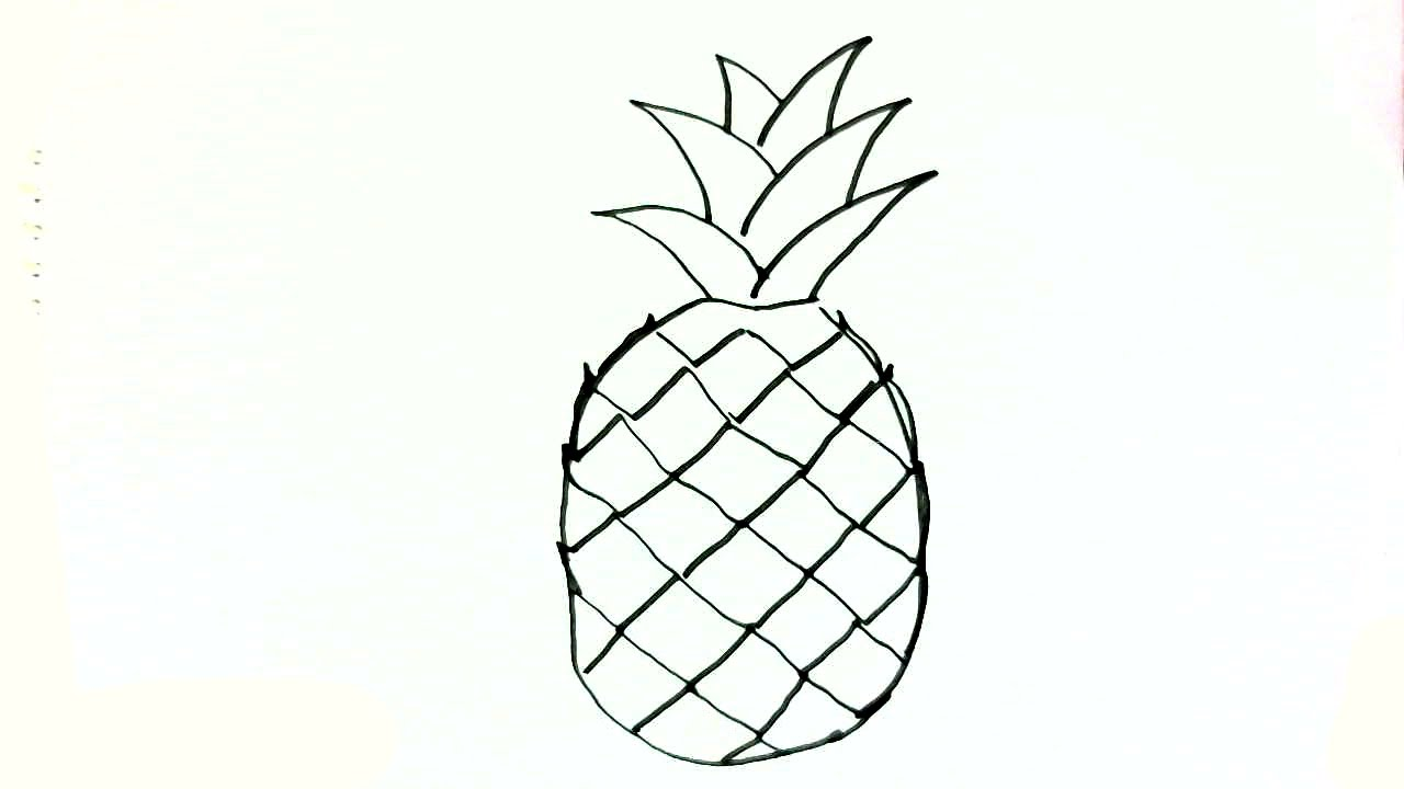 jpg freeuse library How to draw a. Pineapples drawing