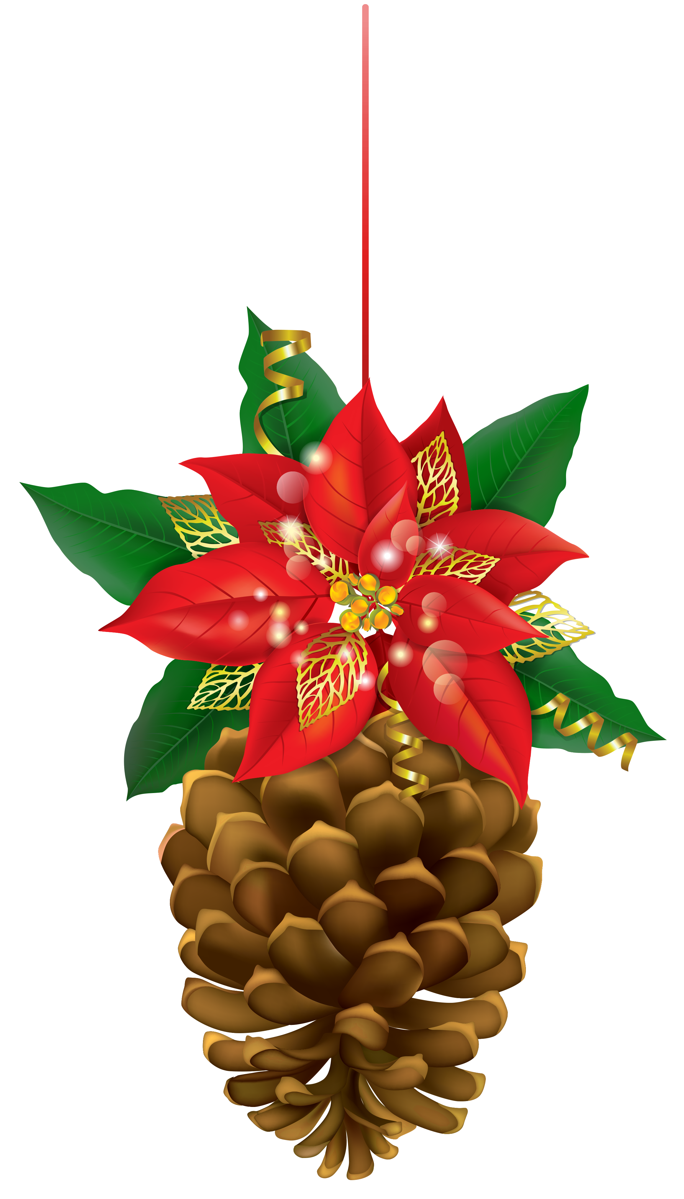 free Pinecone clipart. Christmas with poinsettia png.