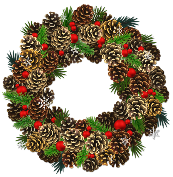 png royalty free stock Transparent Christmas Pinecone Wreath PNG Clipart