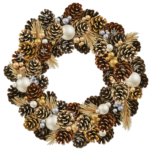 clipart library stock Transparent Christmas Pinecone Wreath with Pearls Clipart