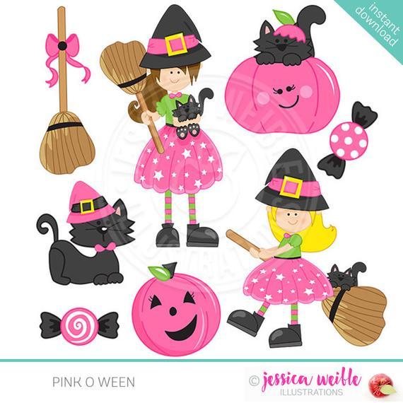 clip Pink clipart halloween. O ween cute digital