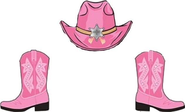 clip black and white library pink cowgirl boots hat