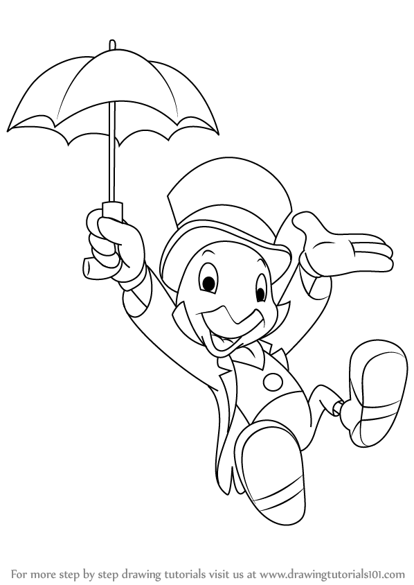 jpg black and white Learn how to draw. Pinocchio drawing jiminy cricket