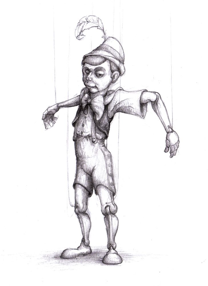 black and white Pin by amie houchins. Pinocchio drawing marionette