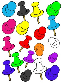 picture black and white library Pins clipart. Push color and black.