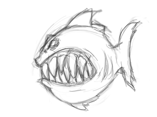 clip library library Piranha drawing pencil. Sketch colorful realistic art.