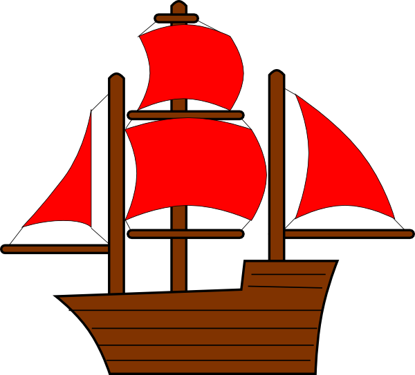 graphic royalty free download Red pirate ship clip. Boat svg small