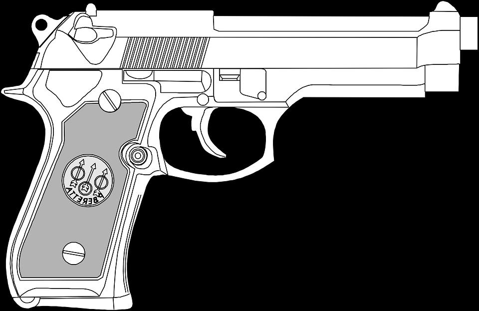 clip art black and white stock Drawn Pistol transparent gun