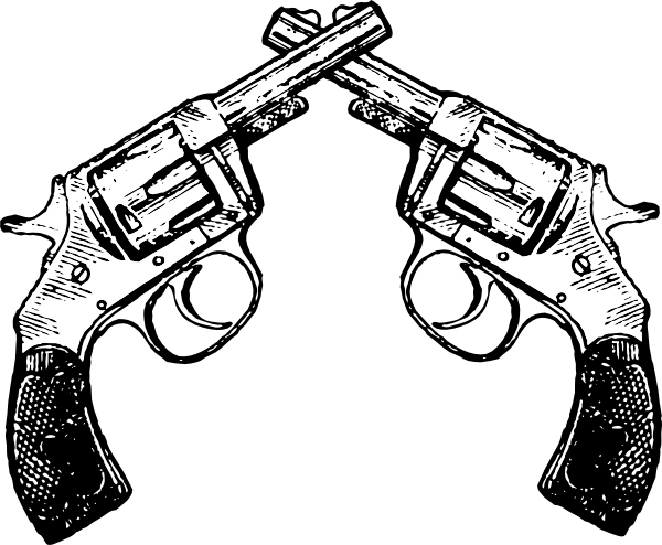 clipart black and white Crossed Revolver Clipart