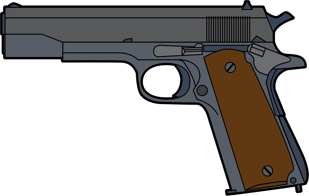 svg black and white library Free Pistol Clip Art