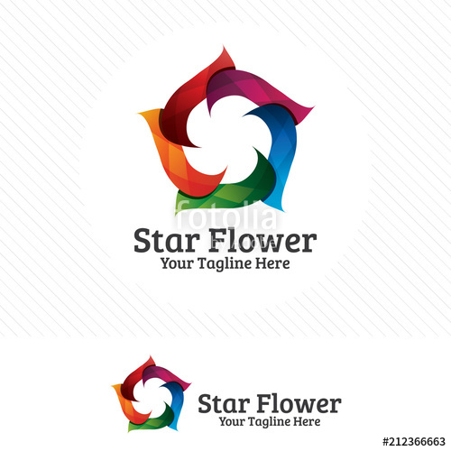 graphic free library Colorful logo design flower. Pixel vector colourful star