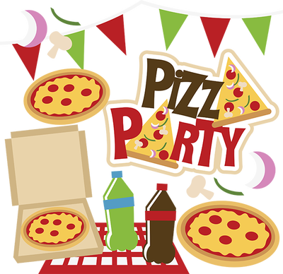 picture black and white pizza party clip art