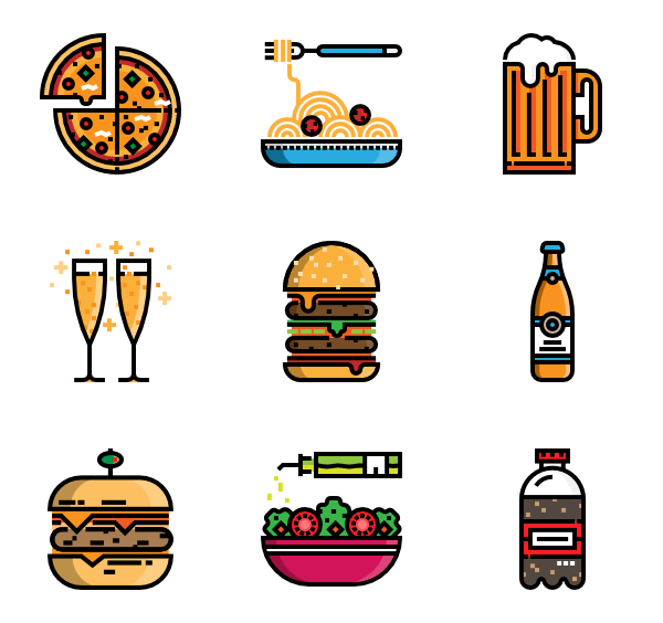 graphic black and white Pizza Icons